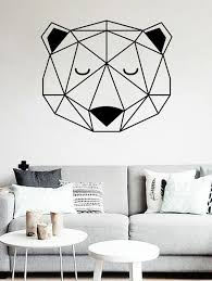 fashion geometric bear print decorative wall stickers for kid s bedrooms on geometric bear wall art with black 43 50cm geometric bear print decorative wall stickers for