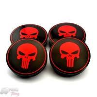 56mm <b>4PC</b> The Punisher Red Skull <b>Aluminum Car</b> Wheel Center ...