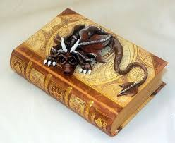 ooak polymer clay brown dragon book box