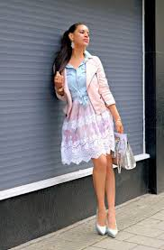 pastel pink biker topper will definitely make you stand out try it on atop light blue knotted chambray shirt paired with lace pink white skirt and metallic