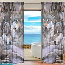 INGBAGS Bedroom Decor Living Room Decorations Wolf Pattern Print Tulle  Polyester Door Window Sheer Curtain Drape