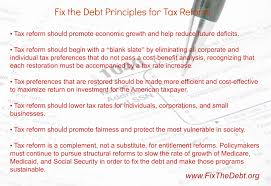 Principles for Tax Reform - Fix The Debt
