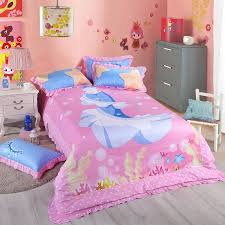 elegant girls hot pink and blue mermaid print princess style twin full size bedding sets