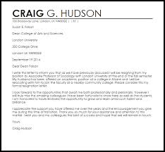 Formal Resignation Letter Example Faculty Resignation Letter Example Letter Samples Templates