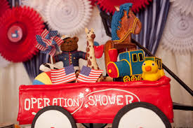 red white coo themed baby shower for military moms to be