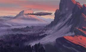 spaceship landscape sunset nature futuristic artwork digital art mountain