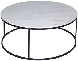 westminster white marble coffee table round with black base