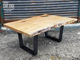living edge furniture. Wood Coffee Table- Industrial Live Edge Ambrosia Maple- Steel Legs- Modern- Rustic- Living Room- Creative- Furniture