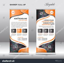template for advertisement orange roll banner stand template advertisement stock vector