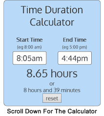 Work Time Card Calculator Calculate Duration Between 2 Times Easy Free