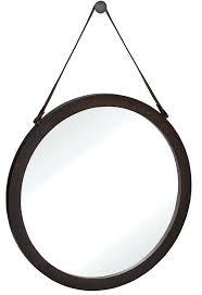 round mirror with rope strap round urban modern leather strap decorative hanging wall mirror