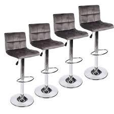 set of 4 bar stools. Image Is Loading Set-Of-4-Bar-Stool-Velvet-Fabric-Swivel- Set Of 4 Bar Stools A