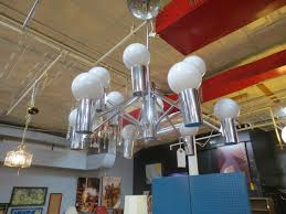 vintage mid century modern 12 arm chrome chandelier 380