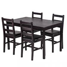 5pcs Dining Table Set Pine Wood Kitchen Dinette Table With 4 Chairs