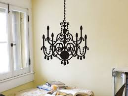 entrancing natural wall color design with outstanding black chandelier wall sticker theme design also pretty white window design