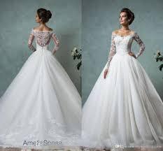 Discount 2017 Beach Vintage Long Sleeve Wedding Dresses Lace Lace Wedding Dresses With Long Sleeves