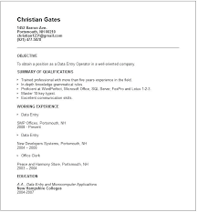 Sample Data Entry Resume Resume Template Directory