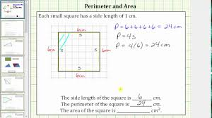 Determine The Perimeter And Area Of A Square On A Grid Youtube