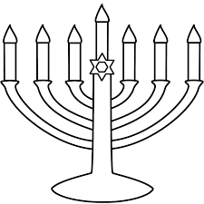 Small Picture Menorah with seven candles Coloring Page Hanukkah