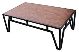 metal coffee table. Rectangle Dark Brown Wooden Coffee Table With Four Black Metal Legs