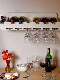 white wine rack cabinet. Wall Mounted Small Homemade Wood Wine Rack With Glass Holder Painted White Color Above Dining Table Ideas Cabinet
