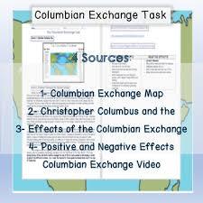 Columbian Exchange Document Based Source Test Christopher Columbus Assessment