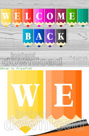 Welcome Back Printable Banner Colored Pencils Classroom