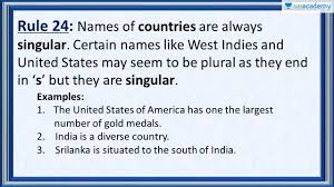 Subject Verb Agreement Rule 24 Correct Usage Of Country Names
