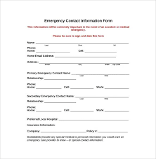 Contact Form Template Word Free Emergency Contact Forms Employee
