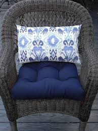 indoor outdoor 19 x 19 universal tufted wicker seat outdoor wicker chair with blue cushion