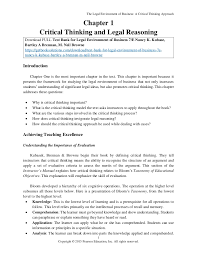 An Introduction to Critical Thinking in Business