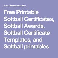 Free Printable Softball Certificates Softball Awards