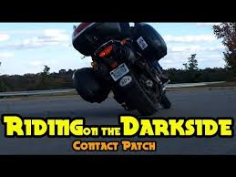 Riding On The Darkside Car Tire On A Motorcycle Contact Patch