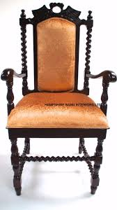 antique replica carver dining hall chair gany gold fabric hand carved throne