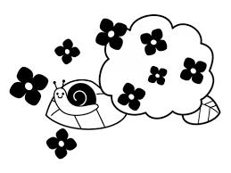 カタツムリと紫陽花の梅雨の白黒イラスト かわいい無料の白黒イラスト