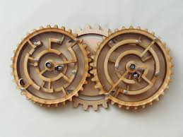 Wooden Maze Game With Ball Bearing Gabriel Fernandes' Puzzle Collection Zahnradlaby Double Gear Maze 79