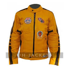 kill bill mens womens uma yellow motorcycle biker leather jacket