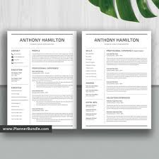Simple Resume Template Job Cv Template 1 2 3 Page Word Resume Design Professional And Modern Resume Cover Letter Instant Download Anthony