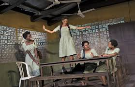 from left nike kadri yah be paige gilbert and mirirai sithole in s or the african mean s play at the lucille lortel theater