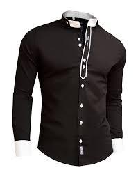 Mens Design Dress Shirts Designer Men Casual Formal Double Cuffs Grandad Band Collar