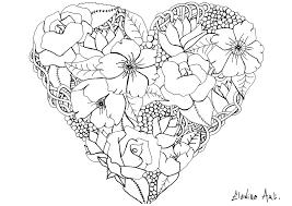 Elanise Art Coeur Fleuri Fleurs Et V G Tation Coloriages
