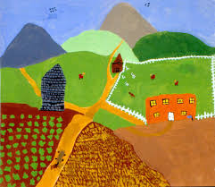 after learning about grandma moses and her paintings the children use her style to paint landscapes for ages 6 to 13 plan 2 to 3 sessions