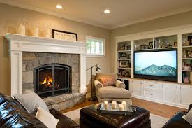 fireplace wall unit living room traditional with area rug built in shelves