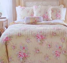 cottage chic summer yellow pink roses blue flowers queen quilt pillow sham