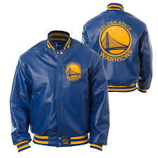 golden state warriors jh design team color logo all leather jacket royal golden state warriors official