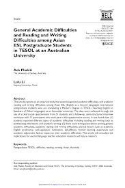 general academic difficulties and reading and writing difficulties general academic difficulties and reading and writing difficulties among asian esl postgraduate students in tesol at an n university pdf