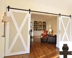 interior double door hardware. Barn Door Hardware Kit 13ft Straight Coffee Double Interior W