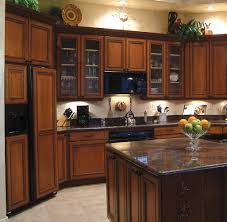 rustic kitchen with wooden dark cherry cabinet refacing light