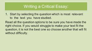 national critical essay revision review understanding the writing a critical essay 1 start by selecting the question which is most relevant