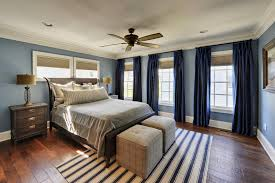 deep navy curtains lighter blue walls